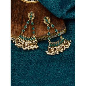 Green Triangle Arc Earring