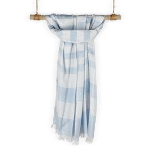 Hamptons White & Blue Cotton Striped Scarf/ Stole
