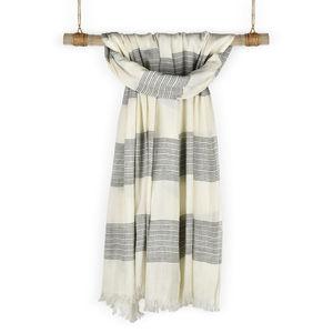 Hamptons White & Grey Cotton Striped Scarf/ Stole For Women