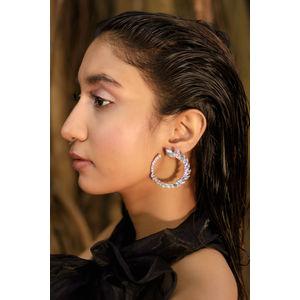 Toniq Chic Gold Stone Embellished Leaf Stud Earrings For Women