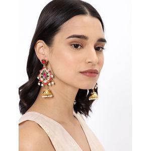 Pink & Gold-Toned Classic Drop Earrings