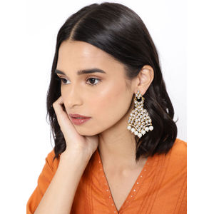 Gold Toned Contemporary Ethnic Traditional Drop Earrings For Women