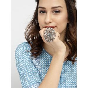 Women Oxidised Silver-Toned Floral Fligree Finger Ring