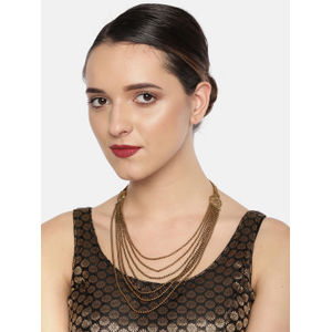 Gold Plated Multi Layered Rani Haar Chain  Necklace