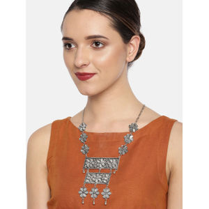 Silver-Toned Mirror Necklace