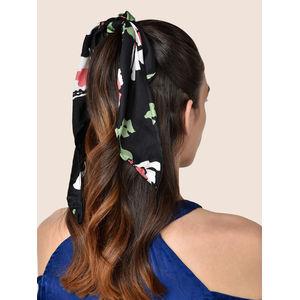 Toniq Black Satin Floral Monet Printed Hair Scarf Scrunchie Rubber Band For Women