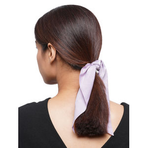 Toniq Purple Pearl Embellished Satin Scarf RubberBand For Women