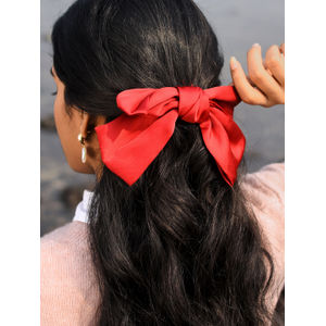 Toniq Bianca Maroon Satin Barette Bow Hair Clip For Women