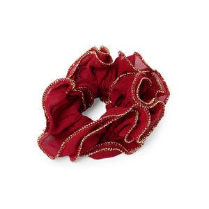 Toniq Maroon Ruffled Elastic Hair Scrunchies For Women