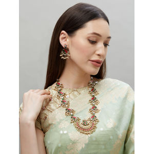 Elegant Peacock Gold,Green and Fuschia Enamel Jewellery Set For Women-1 Necklace,1 Pair Earring