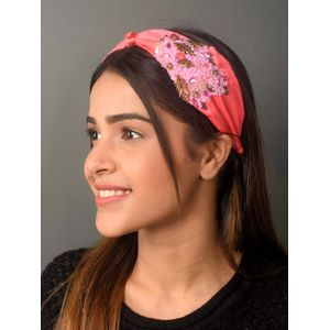 Toniq Hot Pink Beaded Sequin Embellished Bridal Turban Knot Hair Band For Women
