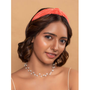Coral Red Solid Pleated Top Knot Solid Hair Band For Women