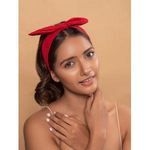 Maroon Fabric Solid Bow Elasticated Headband/Hair Band For Women