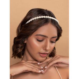Toniq Gold & White Elegant Pearl Embellished Floral Hair band For Women