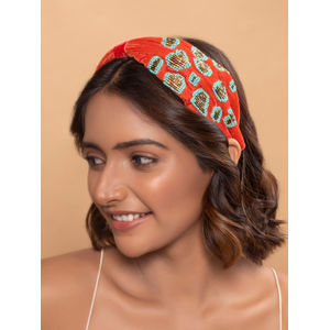 Toniq Red Beaded Embroidery Fabric Bridal Turban Knot Headband For Women