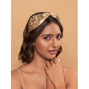 Toniq Gold Sparkle Beaded Sequin Embellished Bridal Turban Knot Headband For Women