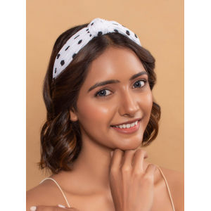 Toniq Drive Me Dotty Polka Dot Printed Top Knot Hair Band For Women