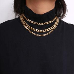 ToniQ Riri Bold Multi Layered Gold Linked Necklace For Women