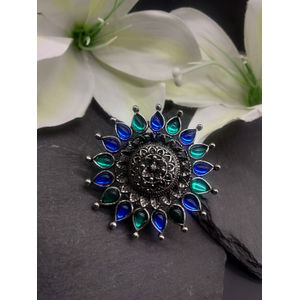 Silver-Toned & Blue Dew Drop Adjustable Ring