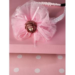 Toniq Kids Pink Tulle Flower Party Hair Band For Girls & Children