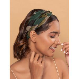 Toniq Black & Green Camaflouge Turban Printed Elasticated Head Band For Women