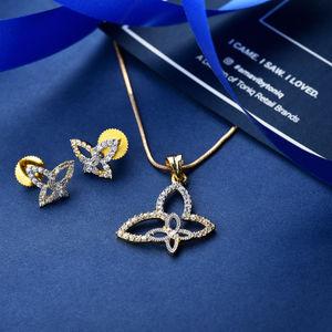 Amavi Mesmerizing Dainty Flower Pendant & Earrings Set For Women
