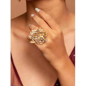 Raanisa Gold Wedding Ethnic Traditional Stunning Kundan & Pearl Cocktail Ring For Women