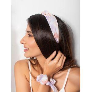 Toniq Multicolor Pastel Tie & Dye Hair Band & Rubber Band Set For Women