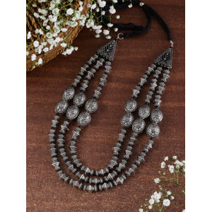 Women Silver-Toned Tribal Beaded Oxidised Layered Necklace