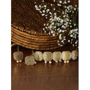 Vintage Oxidised Gold Choker Jewellery Set With Pearl Drop