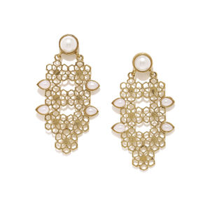 Antique Gold-Toned White Contemporary Drop Earrings