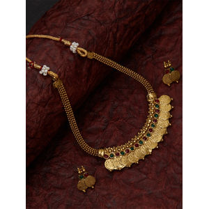 Ethnic South Indian Temple Jewellery  Traditional Gold Coin Necklace and Earring Set  For Women