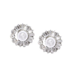Silver-Toned Circular Embellished Studs