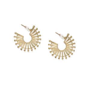 Gold-Toned Geometric Half Hoop Earrings
