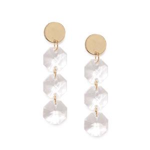 Gold Tone Circular Drop Earring For Women