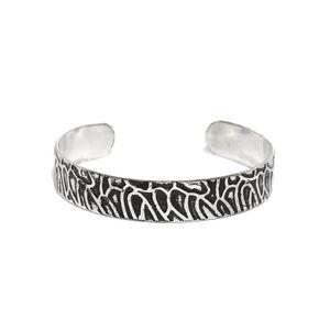 Men Silver-Toned & Black Engraved Metal Cuff Bracelet