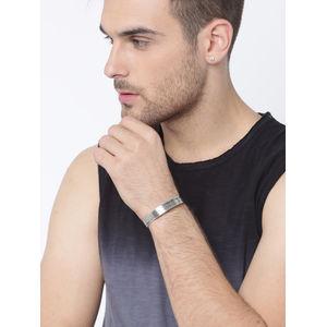 Men Silver-Toned Metal Cuff Bracelet