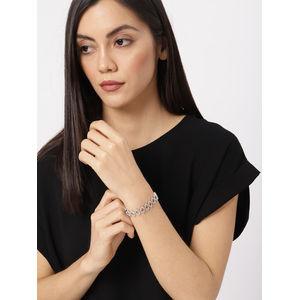 Silver-Toned Alloy CZ Stone-studded Charm Bracelet