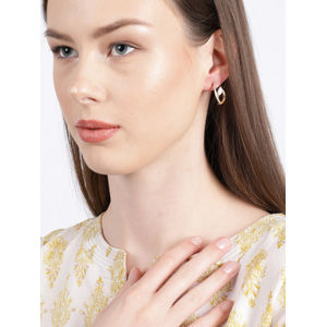 Gold-Toned & White Contemporary Studs
