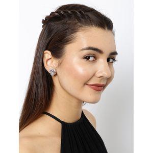 White Rhodium-Plated Cz Teardrop Stud Earring For Women