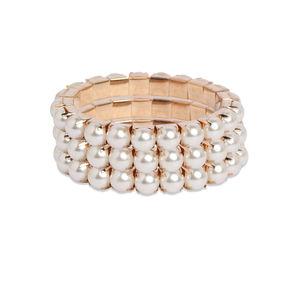 Toniq Set Of 3 Pearl Embellished Bracelet Set For Women