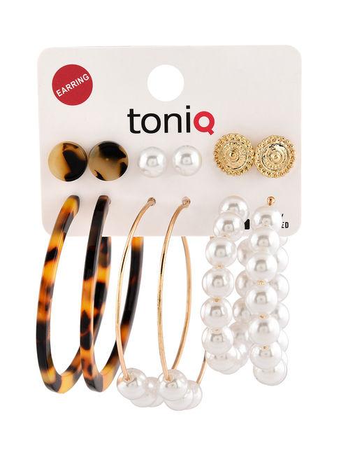 Toniq Hear me Roar Set Of 6 Mix And Match Gold Pearl Studs & Hoop Earrings Set For Women