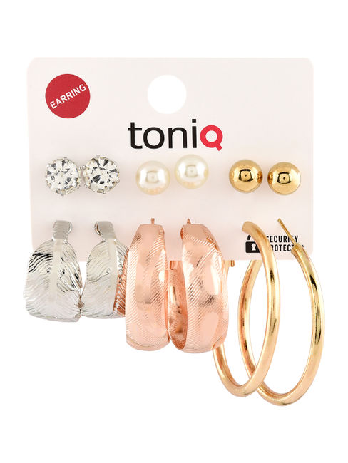 Toniq Classic Gold,Rose Gold & Silver Set 6 Stud And Hoop Earring Set For Women