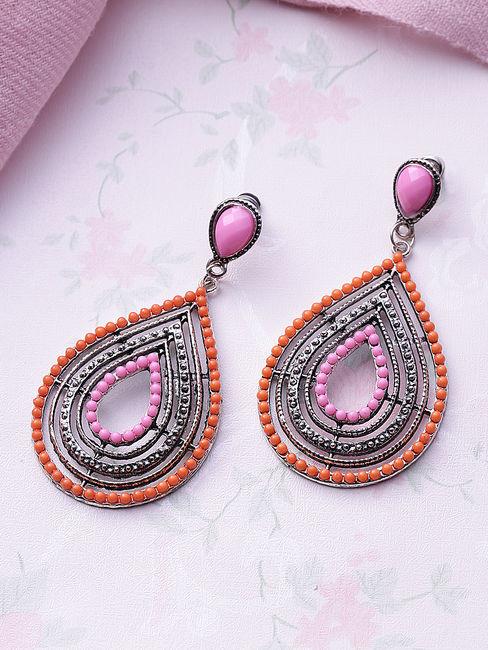 Silver-Toned & Orange Teardrop Shaped Drop Earrings