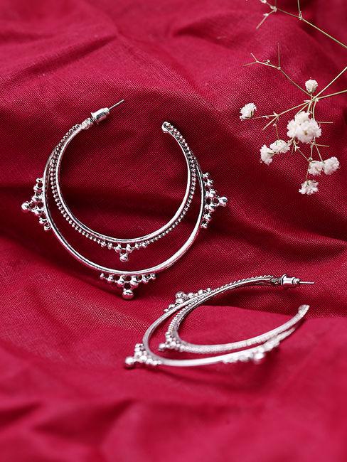 Silver-Toned Circular Half Hoop Earrings
