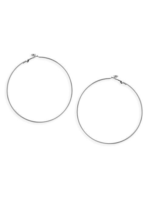 Toniq Silver Oversized Trendy Hoop Earrings for women