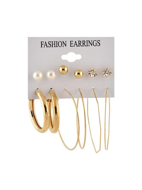 Toniq Gold Chic Set Of 6 Studs & Hoops Earrings Set For Women