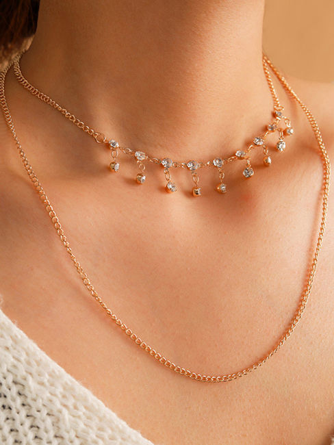 Toniq Shine Bright Gold  Dazzling Stone Embellished Layered Charm Necklace For Women