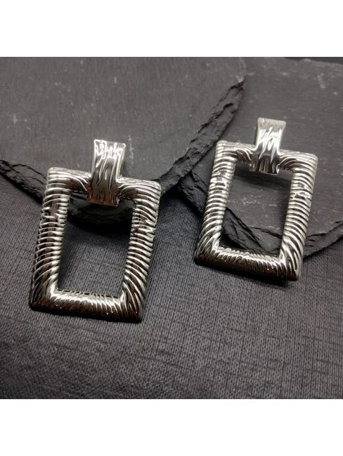 Silver-Toned Geometric Drop Earrings