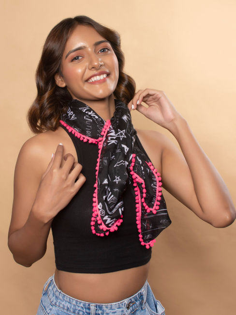 Toniq Trendy Black & White Monochrome Printed With Pink Tasseled Square Scarf/Stole For Women